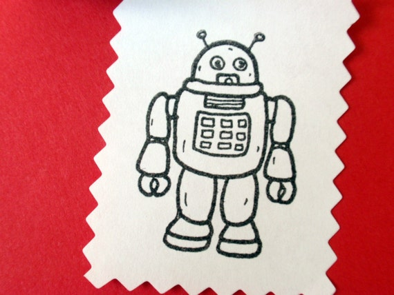 Robot Rubber Stamp // SALE 25% off // Handmade by BlossomStamps