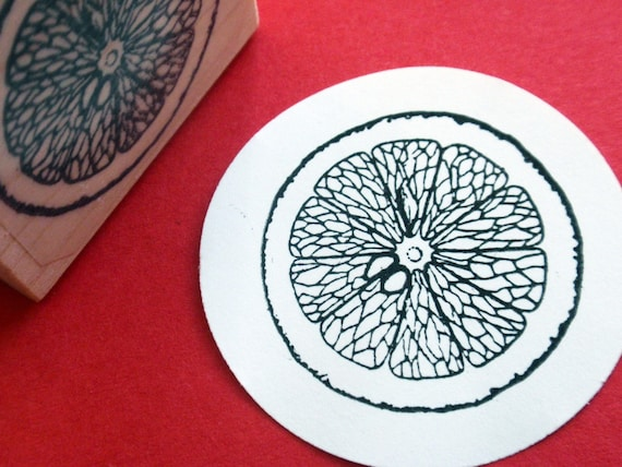 Citrus Slice Orange Lemon Lime Rubber Stamp Handmade By