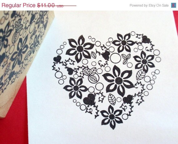 Heart Rubber Stamp-  Extra Large Floral - Photopolymer - Original Art by BlossomStamps