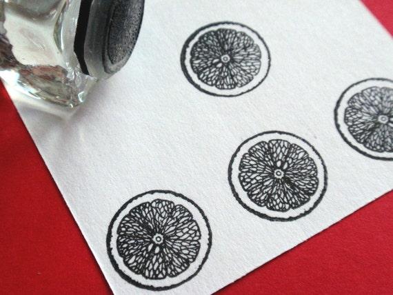 Citrus Orange Lemon Lime Rubber Stamp  - Handmade by BlossomStamps