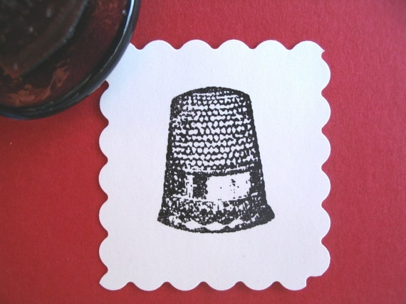 Sewing Thimble  Rubber Stamp Photopolymer - Handmade by BlossomStamps