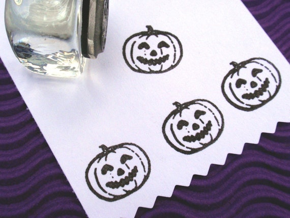 Pumpkin Jack O Lantern Rubber Stamp - Handmade rubber stamps by BlossomStamps