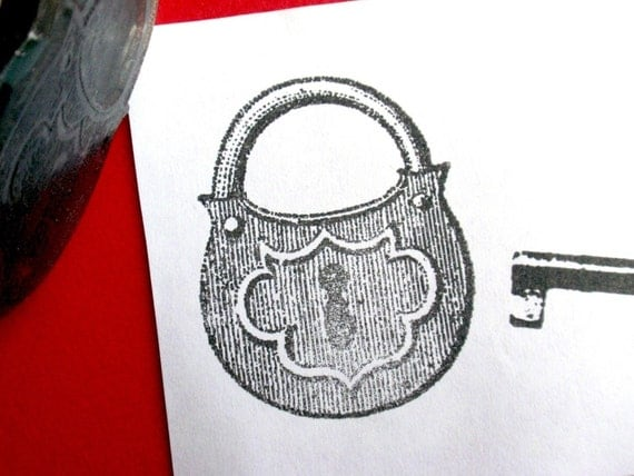 Padlock Rubber Stamp  - Handmade by Blossom Stamps