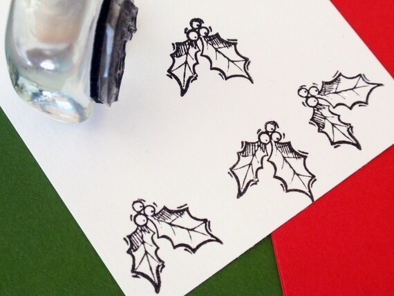 Christmas Holly Rubber Stamp for Tags, envelopes, stickers - Handmade by BlossomStamps
