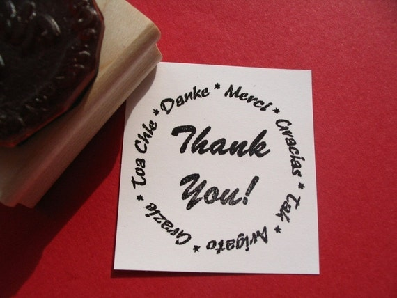Thank You  Rubber Stamp Photopolymer -   Handmade by BlossomStamps