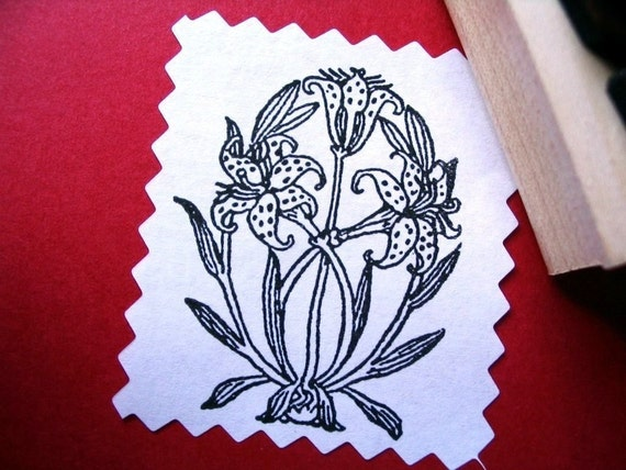 Lily Rubber Stamp - Art Nouveau Style  - Handmade by BlossomStamps
