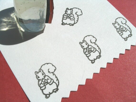 Squirrel Rubber Stamp - Handmade  by BlossomStamps