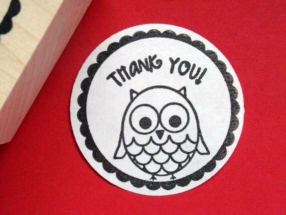 RESERVED for Lynn - Thank You Rubber Stamp Owl Bird Photopolymer- Handmade, Original Art - by BlossomStamps