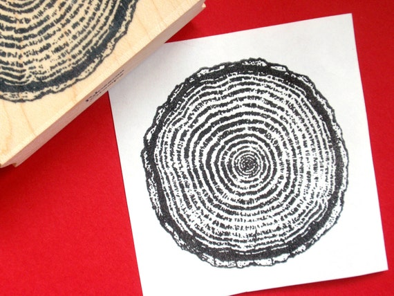 Tree Ring Wood Grain Rubber Stamp Large Handmade By Blossom