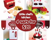 Little Chef's Kitchen Play Set- PDF Patterns (4 Pattern sets in one)