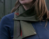 Cozy Snap Scarf - Pendleton Wool - Army Green - Unisex Cowl