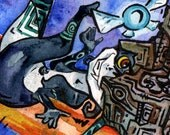 Legend of Zelda Painting - LOL U Mad - Print of Original Watercolor by Jen Tracy - Midna Navi Trollface