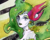 Print of Watercolor and Ink Painting of Rydia from Final Fantasy - Video Game Fan Art by Jen Tracy