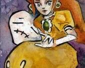 Princess Daisy Watercolor Print - Fear My Down Smash - Nintendo Fan Art Reproduction by Jen Tracy