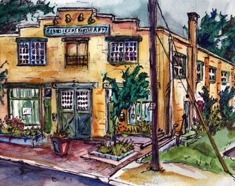 Reproduction of Original Watercolor Painting - Perky - Signed Print - Yellow Building