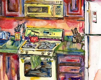 Spring Kitchen - Original Watercolor and Ink Painting
