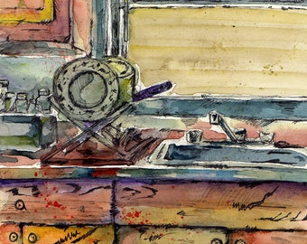 Painting of Interior - Someone Else's Kitchen - Original Watercolor and Ink Painting