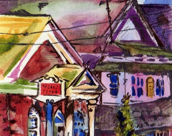 Small Original Painting - Wells Fargo Art - Original Watercolor and Ink on Paper Illustration of Houses - Urban Sketch of Town in Watercolor