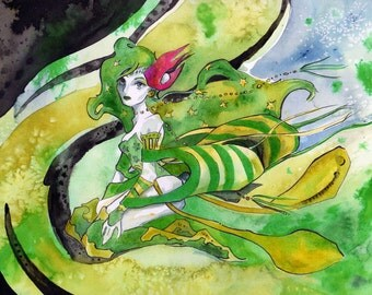 Final Fantasy Wall Decor - Print of Watercolor and Ink Painting of Rydia - Video Game Fan Art by Jen Tracy
