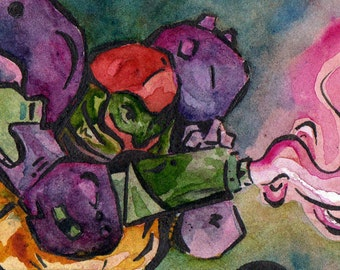 Super Metroid Suited Up Samus - Print of Original Watercolor and Ink ACEO - Reproduction of Painting by Jen Tracy