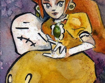 Princess Daisy Watercolor Painting - Fear My Down Smash - Nintendo Fan Art by Jen Tracy