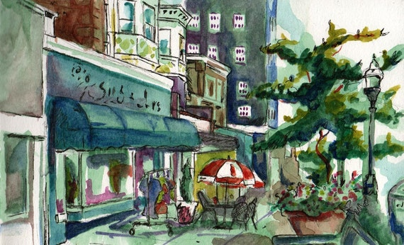 Watercolor Landscape Painting - Product Placement - Original Pen, Ink, and Watercolor Painting