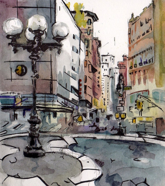 Painting of Union Square - When Honest - Original New York City Art - Watercolor and Ink on Paper