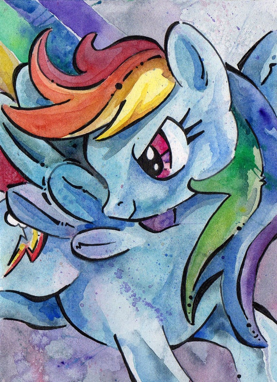 Rainbow Dash Print of Watercolor Painting by Jen Tracy - My Little Pony Friendship is Magic - Dazzling Dash