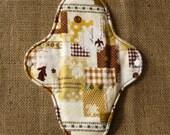 10inch Cloth Menstrual Pad (MicroFleece, Hemp Fleece, PUL Waterproof) Patchwork Animals - Rabbit, Deer and Butterfly