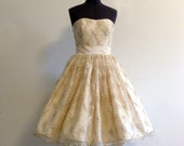 Chantilly Lace 50s Strapless Wedding Gown with Removable Straps