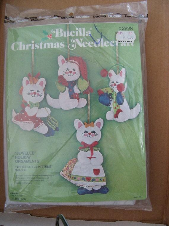Fall Sale     Bucilla Christmas needlecraft jeweled ornament kit 3 little kittens