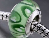 GREEN Spotted European Murano bead Charm