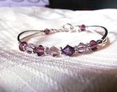 Amethyst Swarovski Crystal Bangle Bracelet