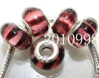 Pink/Black stripes European bead