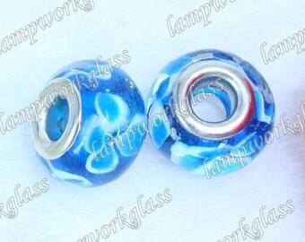 Blue/Teal Flower European bead