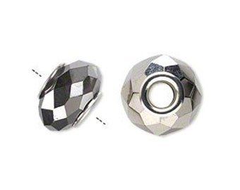 European bead, opaque metallic dark silver, 14x9mm faceted rondelle with 4-4.5mm hole