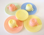 Vintage Hazel Atlas Pastel Pink, Blue, Yellow and Green Little Hostess Party Tea Dishes