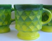 Vintage Lime Green Fire King Set of Five Kimberly Mugs