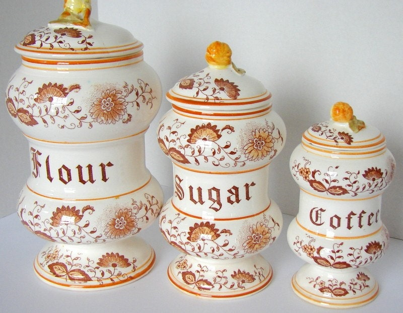 vintage braun ceramic kitchen canisters