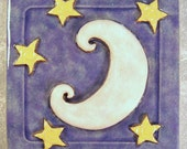 "Moon and Stars Tile 4"" x 4 inch, Ceramic Stoneware ~ Sea Tile ~ Accent Tile ~ Purple ~ White ~ Yellow"