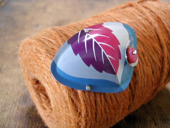 Recycled tins Brooch. Stormy sky and Autumn leaf.
