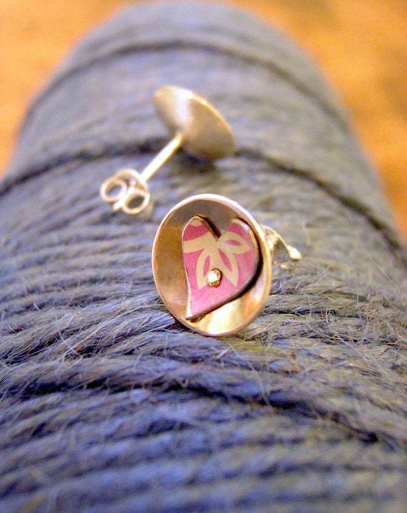 Marshmallow Pink Heart stud earrings featuring recycled tins in silver.