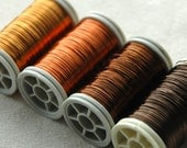 Earth colors , Copper wire  28 Gauge - 4 spools metal wire brown orange bronze and yellow