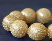 Faux pearl bracelet, crochet wire braclet, gold filled, ivory