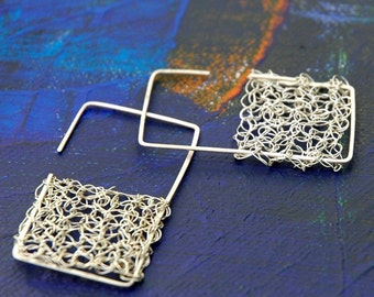 Geometric Jewelry rectangular earrings large silver earrings statement earrings wire crochet silver metal wire unique  fashion  jewellery