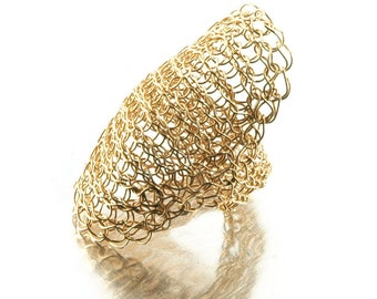 Cleopatra ring  , Wire crochet ring , Statement ring , Gold ring , Shield Ring, Saddle ring, Unique crochet jewelry