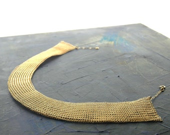 Cleopatra gold necklace unique bridal jewelry made of crocheted wire