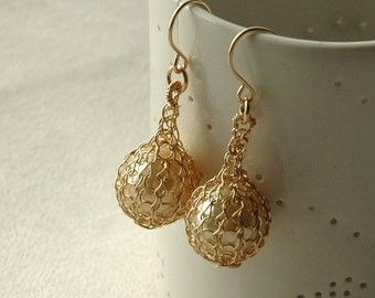 PEARL - Pearl dangle earrings , ivory faux pearls , gold filled, crochet, pearl jewelry June