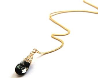 Gray Crystal pendant necklace, Gold Filled gray Swarovski Crystal  pendant Spring Fashion
