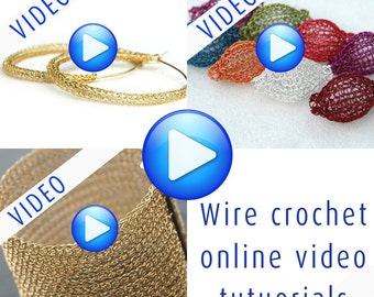 Step by Step wire Crochet Pattern, DIY Jewelry, video and PDF tutorial, instant download, 3 for the price of 2! Hoops, Cuff, Beads!